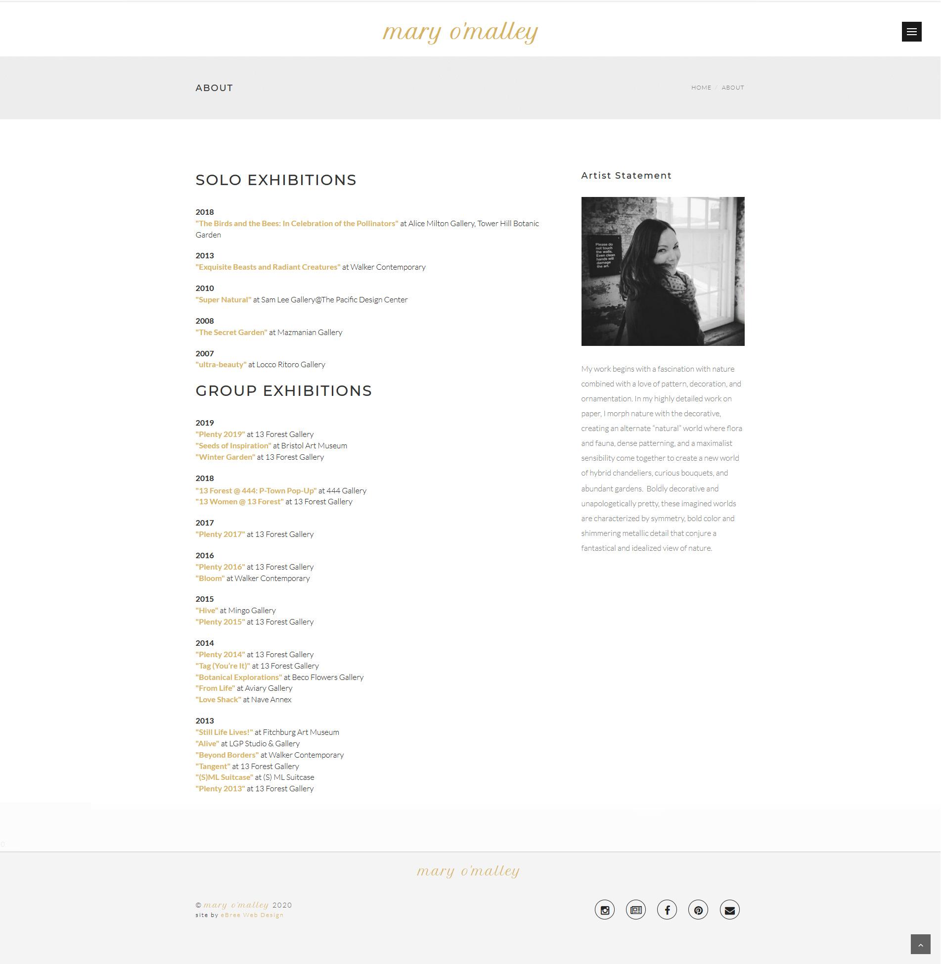 Website Designed For Mary O'Malley, Artist, Teacher