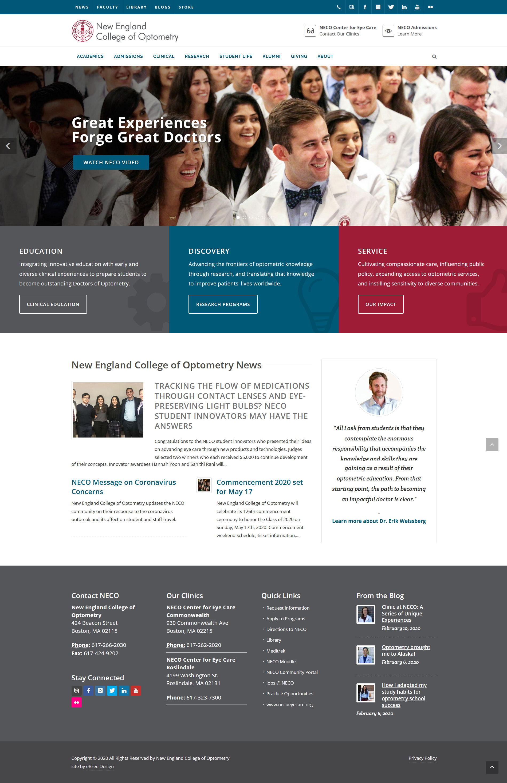Website Designed For Neco New England College Of Optometry Boston Ma Ebree Web Design Cambridge Wakefield Ma